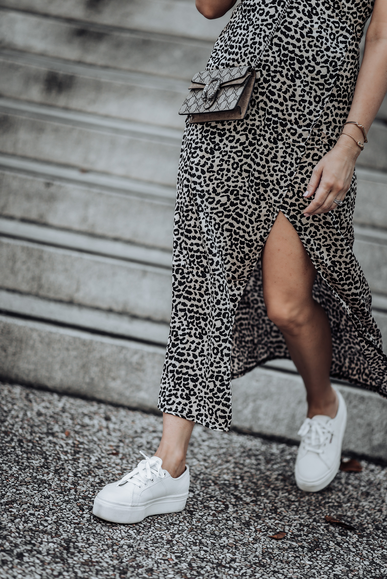 Leopard |Gucci Mini | Leopard Print Slip Dress | Perfect Fit Tee | Superga Platform Sneakers | #liketkit #streetstyle #gucci #casualoutfits