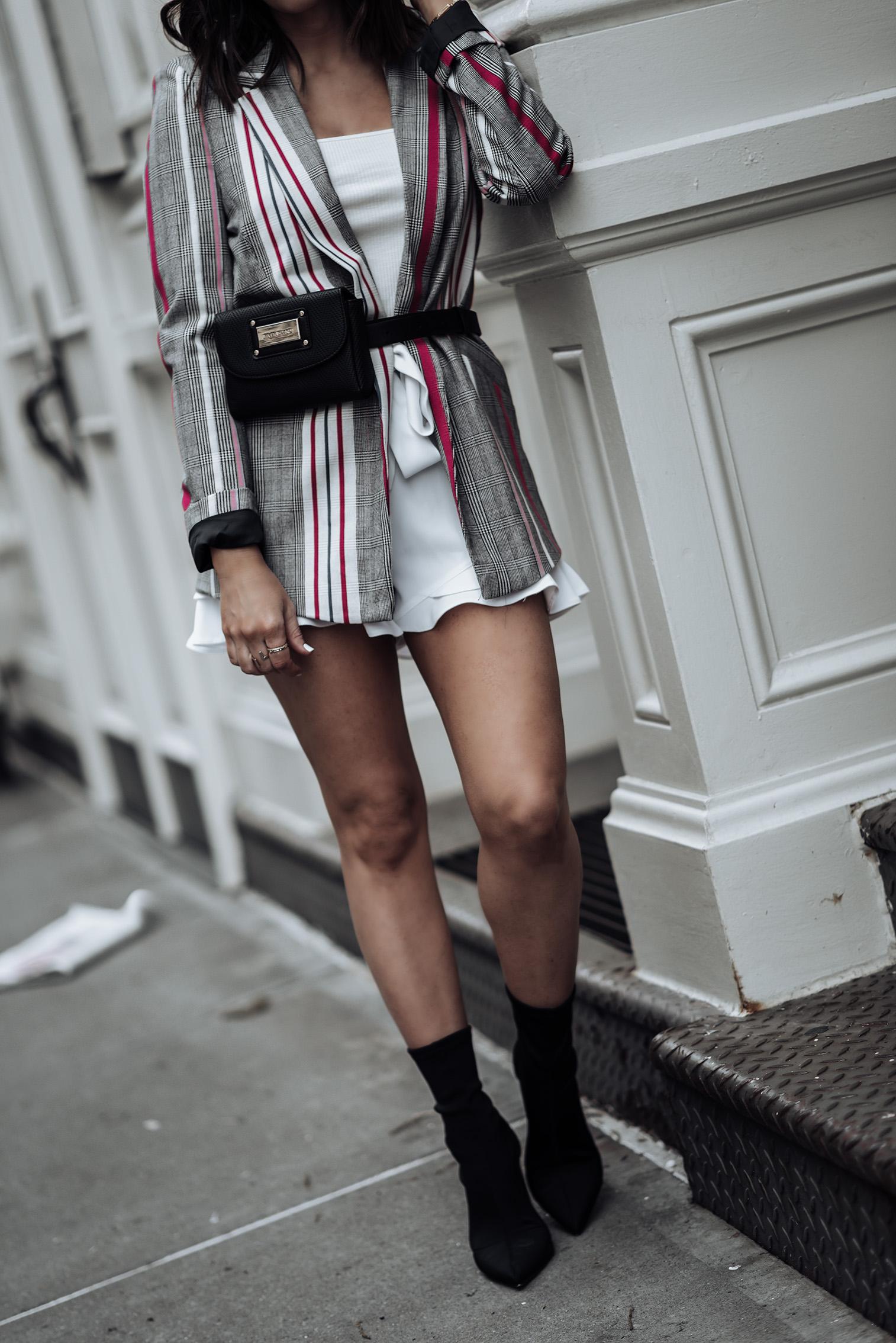 River Island Chic |Striped Blazer | White Frill Shorts | #liketkit #riverisland #anklesockboots #bumbag