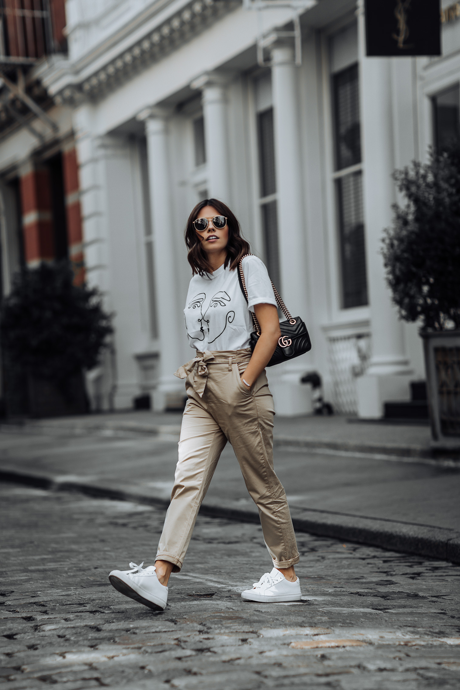 Stradivarious Plain Tie Waist Pants | ASOS Graphic Tee | Greats Brand Sneakers | Gucci Bag #streetstyle #liketkit #ASOS #paperbagpants