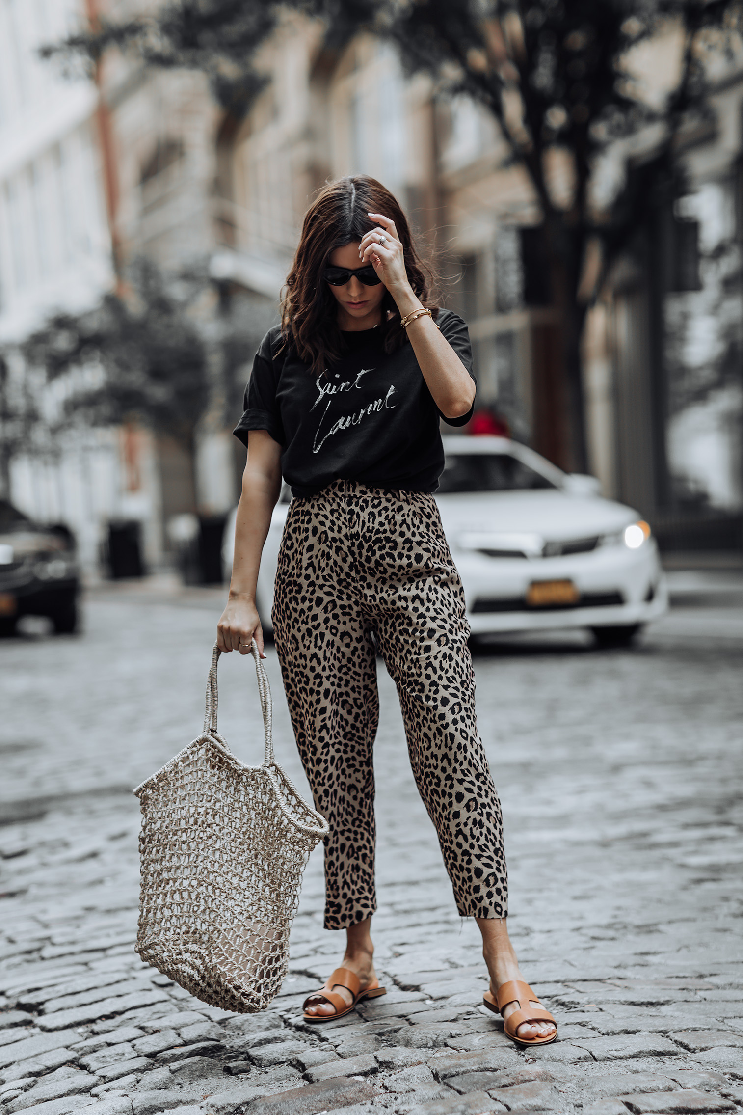 Leopard obsessed | Saint Laurent Tee | Leopard pants | Everlane Brown Slides (similar) | Basket Tote |