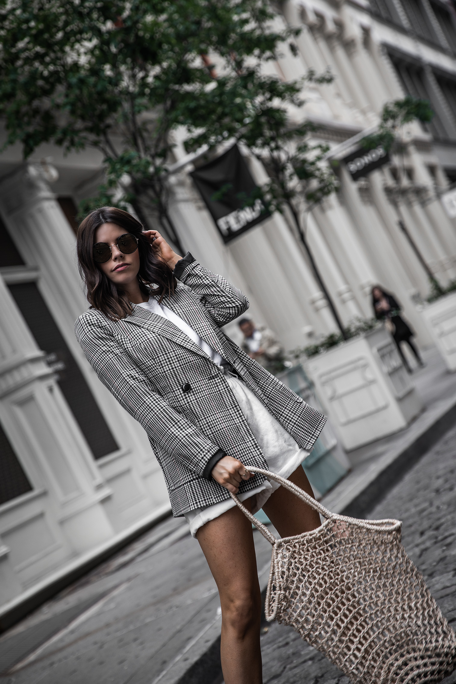 Paper Bag Shorts Trend   Plaid Blazer  White Paper Bag Denim Shorts  Mule Slide (similar)   Knit Bag (similar)