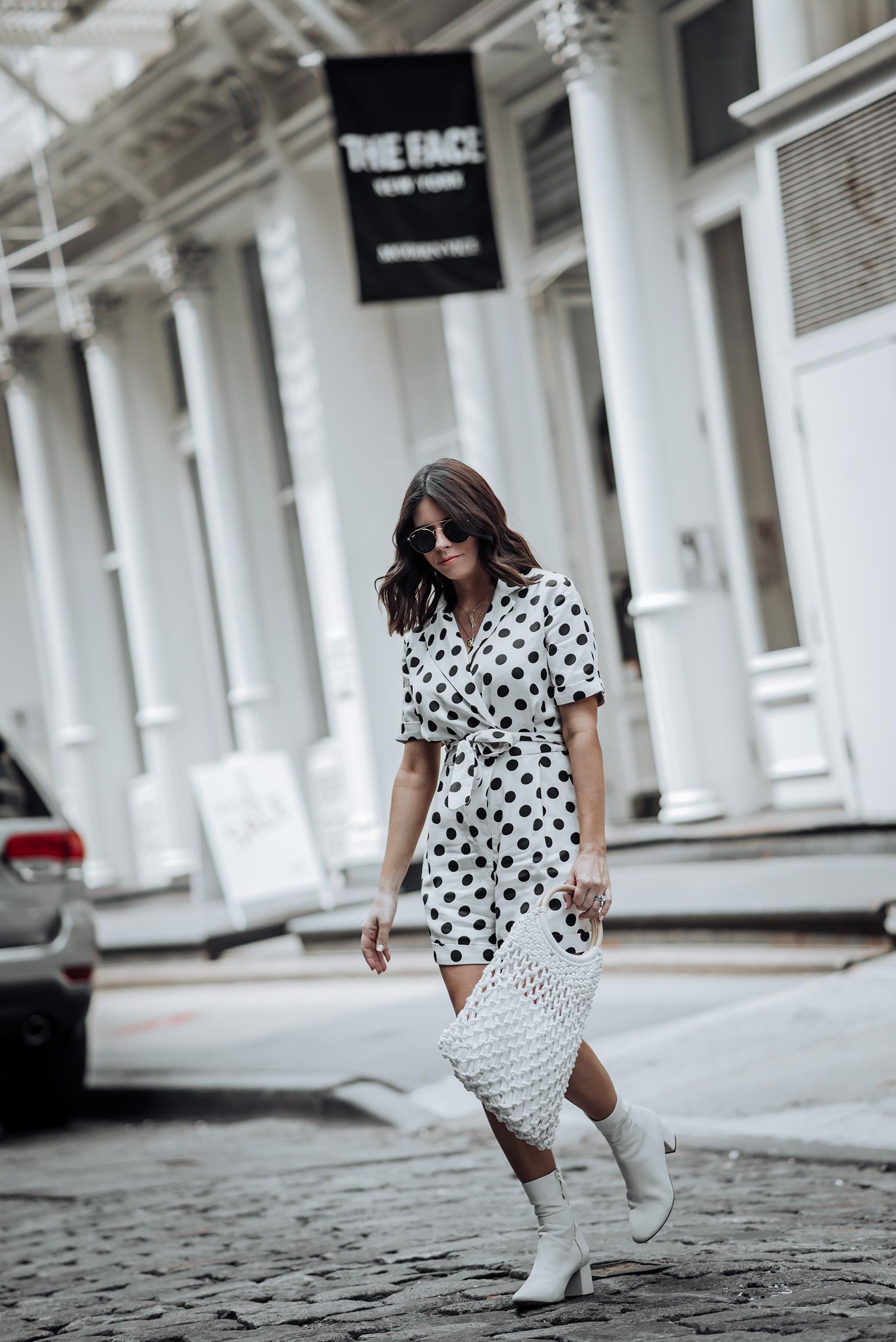 Polka Dot Romer via TOPSHOP | Ankle Boots | Handbang |#topshopstyle #streetstyle #polkadotoutfits
