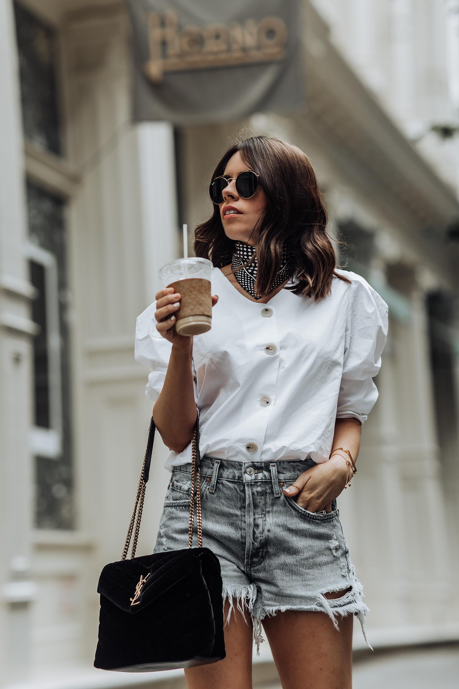 Edge | Puff Sleeve Top | Agolde Shorts | YSL Bag | Zara boots |#liketkit #streetstyle