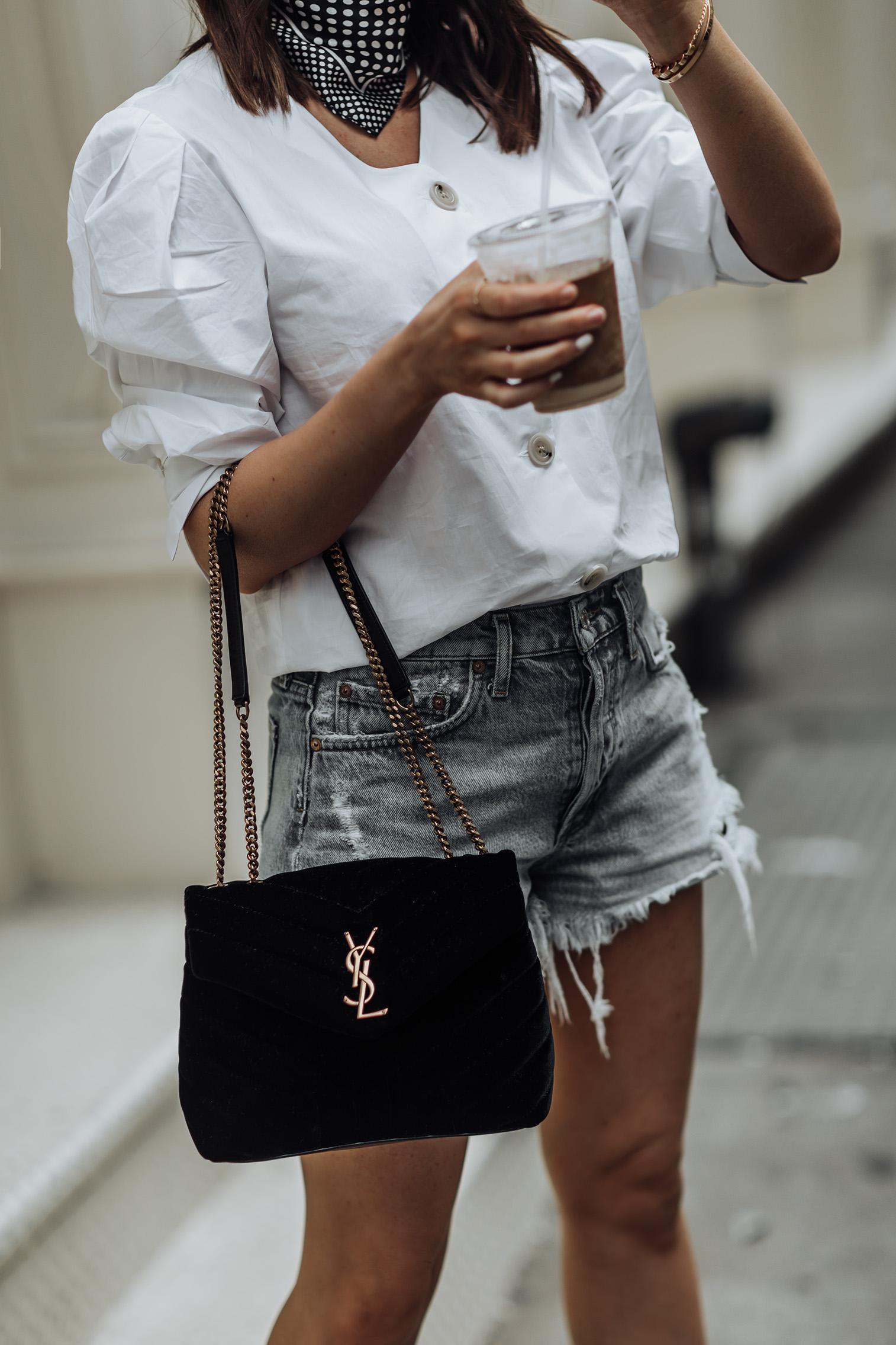 Edge   Puff Sleeve Top   Agolde Shorts   YSL Bag   Zara boots  #liketkit #streetstyle