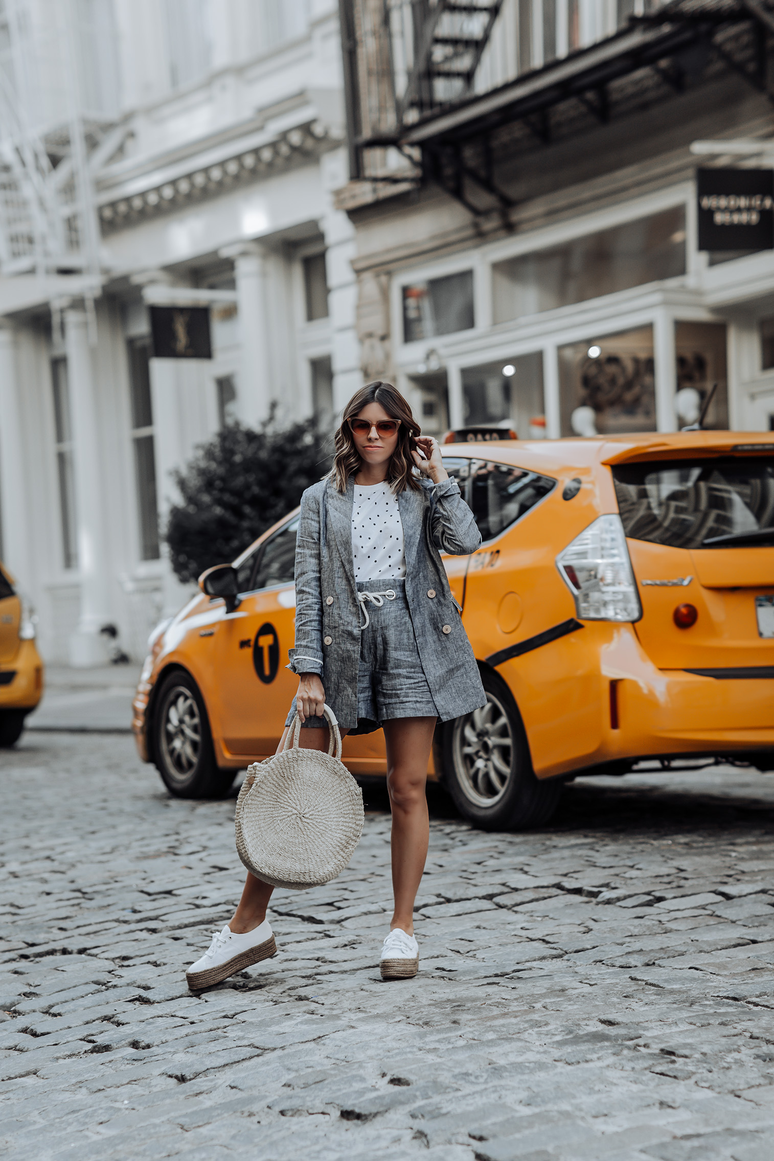 Linen Two piece set | Linen Shorts | Crop top polka dot top | Linen Blazer | Clare V. Alice Tote | Superga 2790 Espadrille Flatform Trainers #liketkit #mango #streetstyle #twopicesets #sneakeroutfits