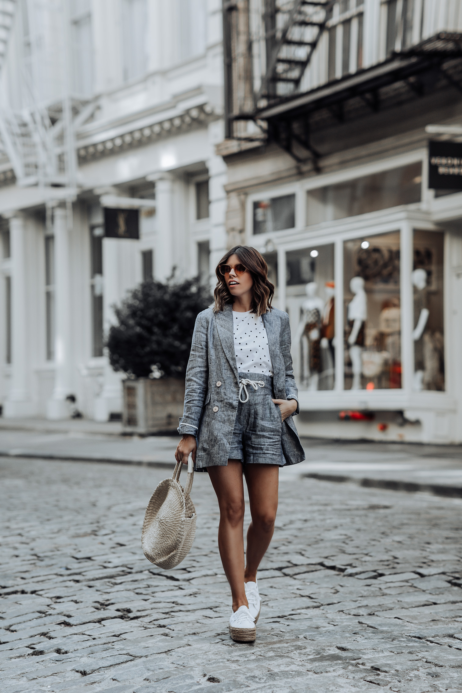 Linen Two piece set   Linen Shorts   Crop top polka dot top   Linen Blazer   Clare V. Alice Tote   Superga 2790 Espadrille Flatform Trainers #liketkit #mango #streetstyle #twopicesets #sneakeroutfits
