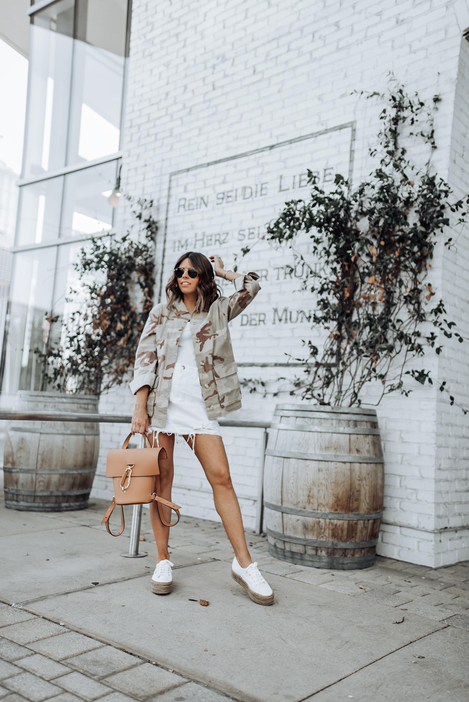 Topshop Camo Print Jacket | camo |Denim skirt | Zac Zac Posen Belay Backpack | Superga Flatform Sneakers | #sneakeroutfits #streetstyle #summeroutfits #liketkit #zaczacposen