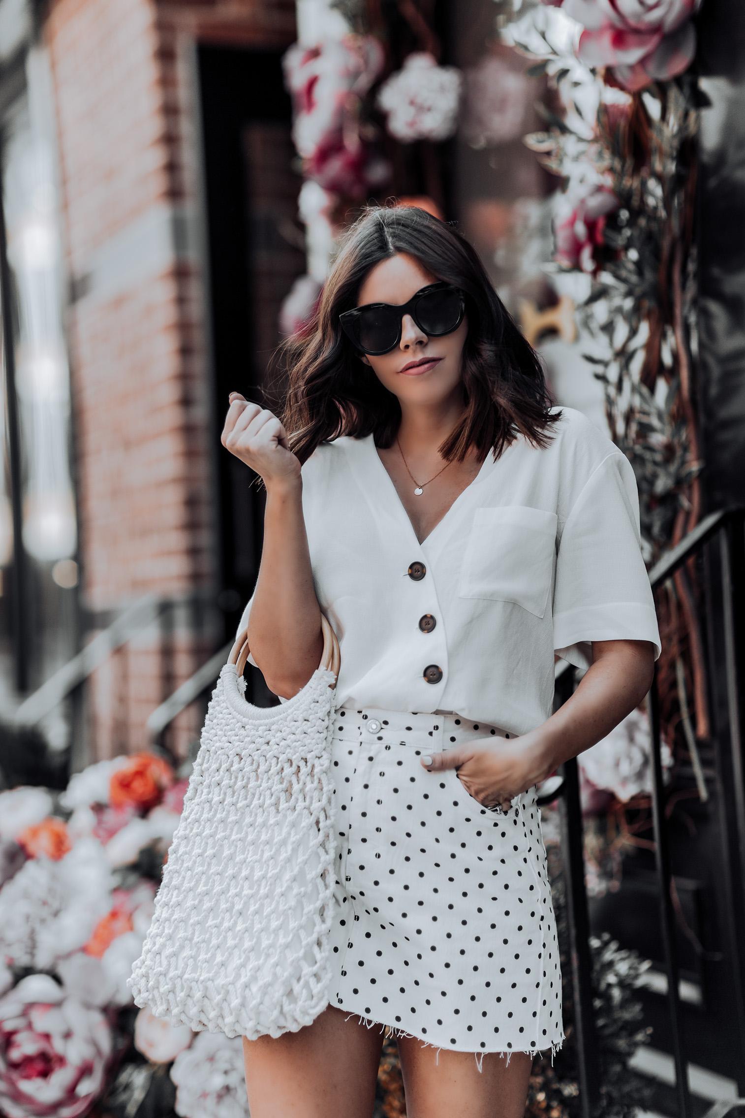 All white |Topshop Polka Dot Skirt | Topshop Blouse | String Shopper Bag | Woven Mules| Straw handbag Trend | Streetstyle blog #streetstyle #ootd #liketkit #topshop