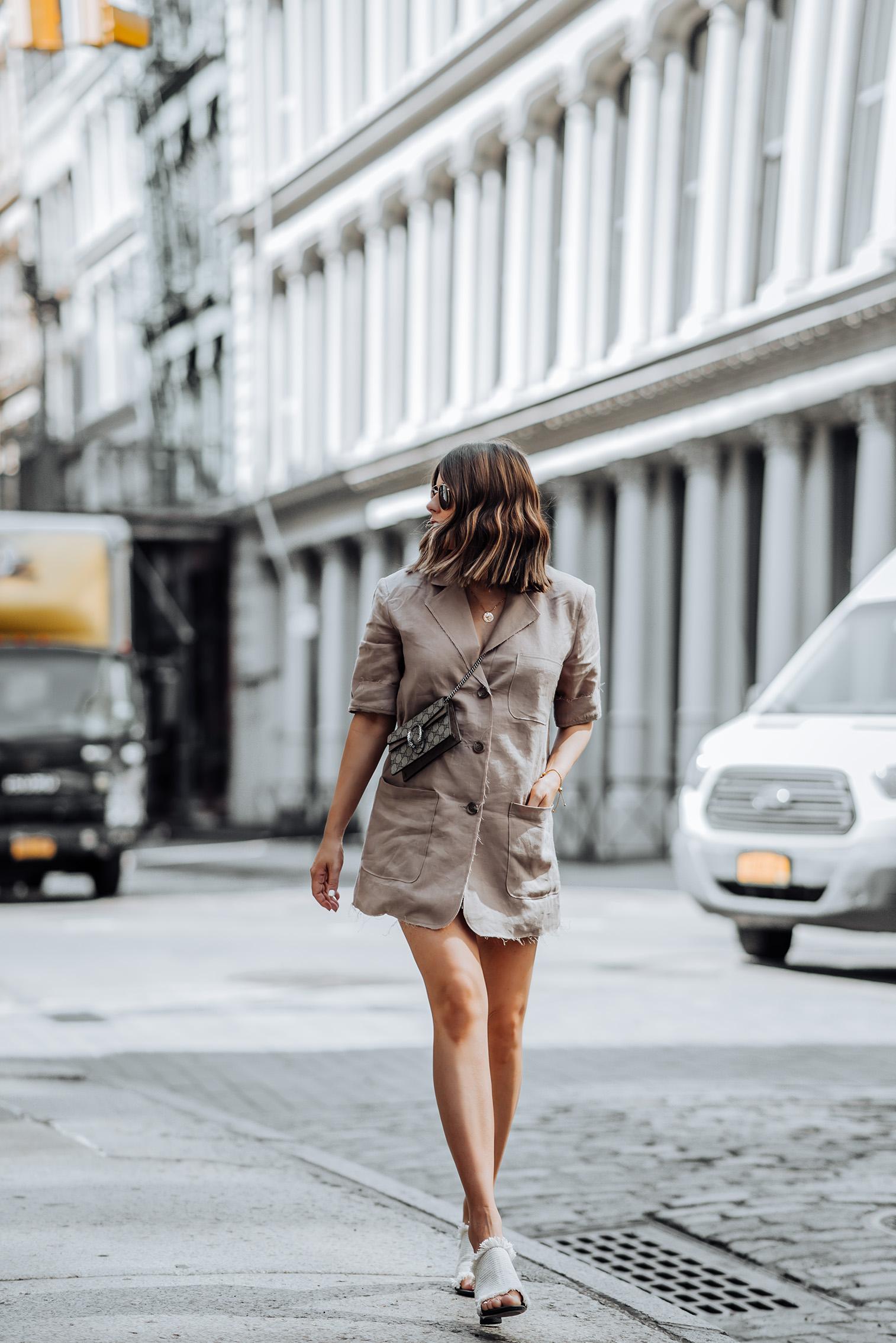 Oversized Blazer via Storets   Heels (obsessed! Runs TTS)   Gucci mini bag  #liketkit #rewardstyle #ootd #oversizedblazer #blazeroutfits #NYCblog #guccidionysus #storets #streetstyle