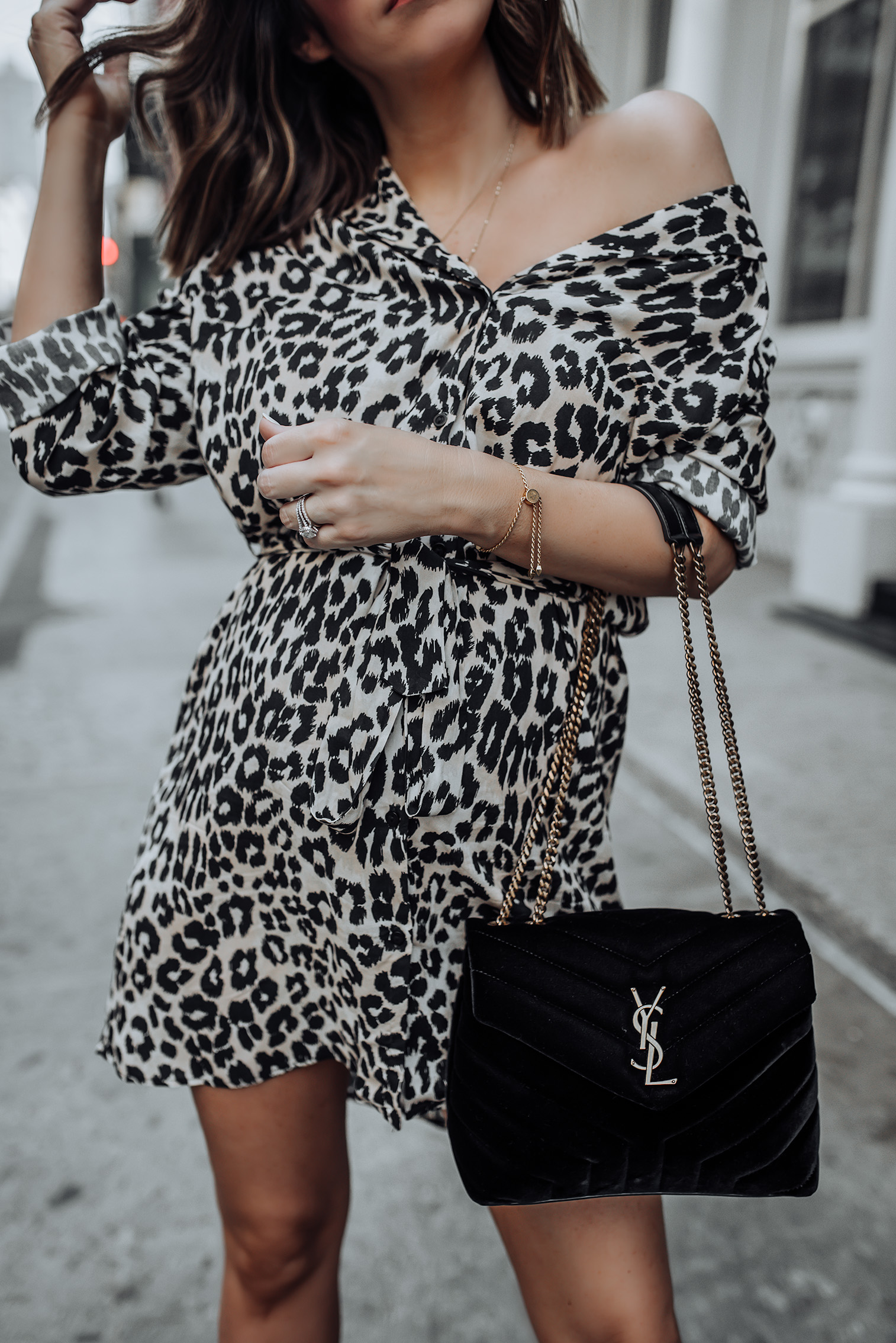Leopard Wrap Dress | Hurricane Croc Boots | YSL LouLou Bag #topshop #yslbag #ankleboots #streetstyle