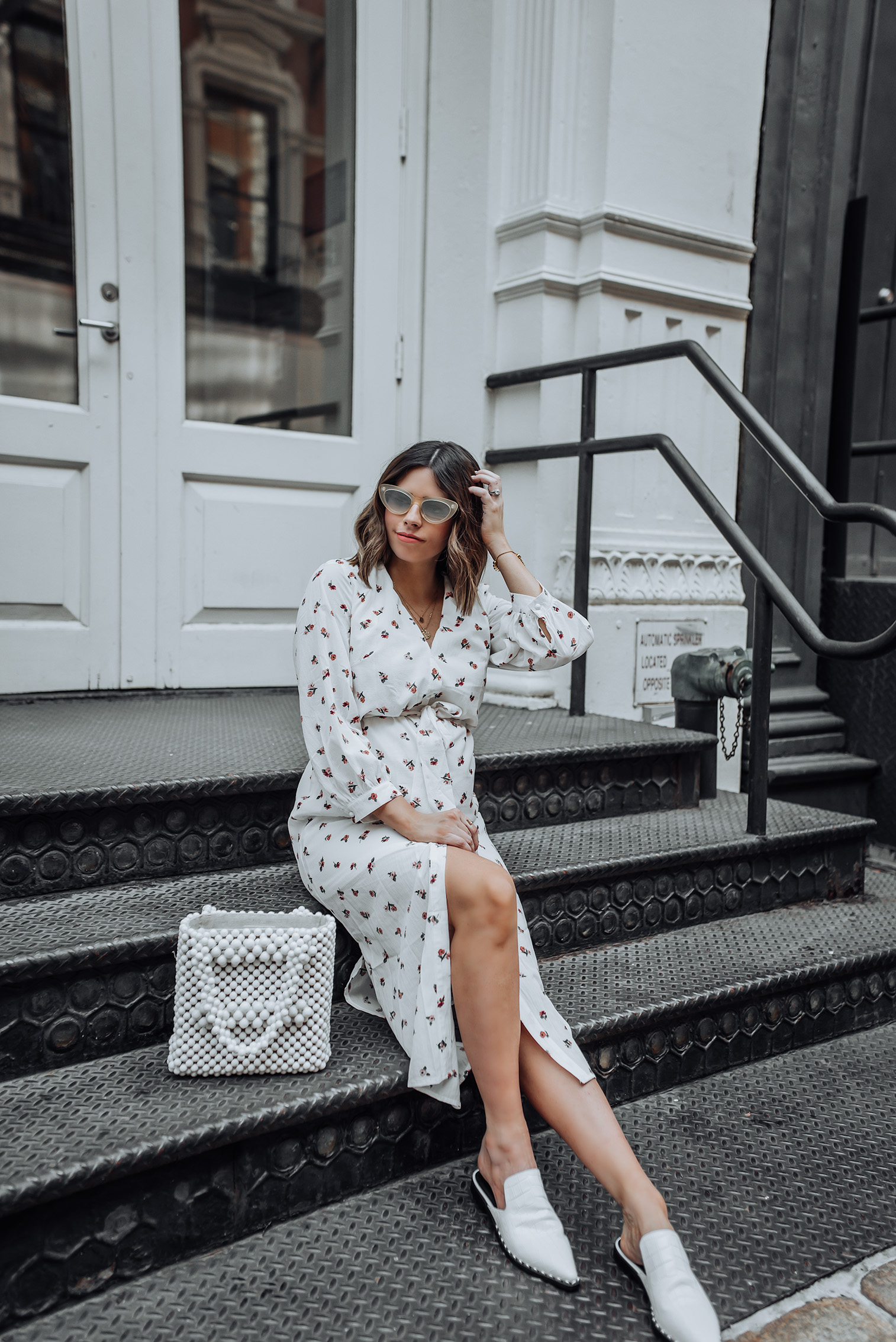 All white   Midi Wrap Dress   Sigerson Morrison Elana Point Slides   Beaded Bag  
