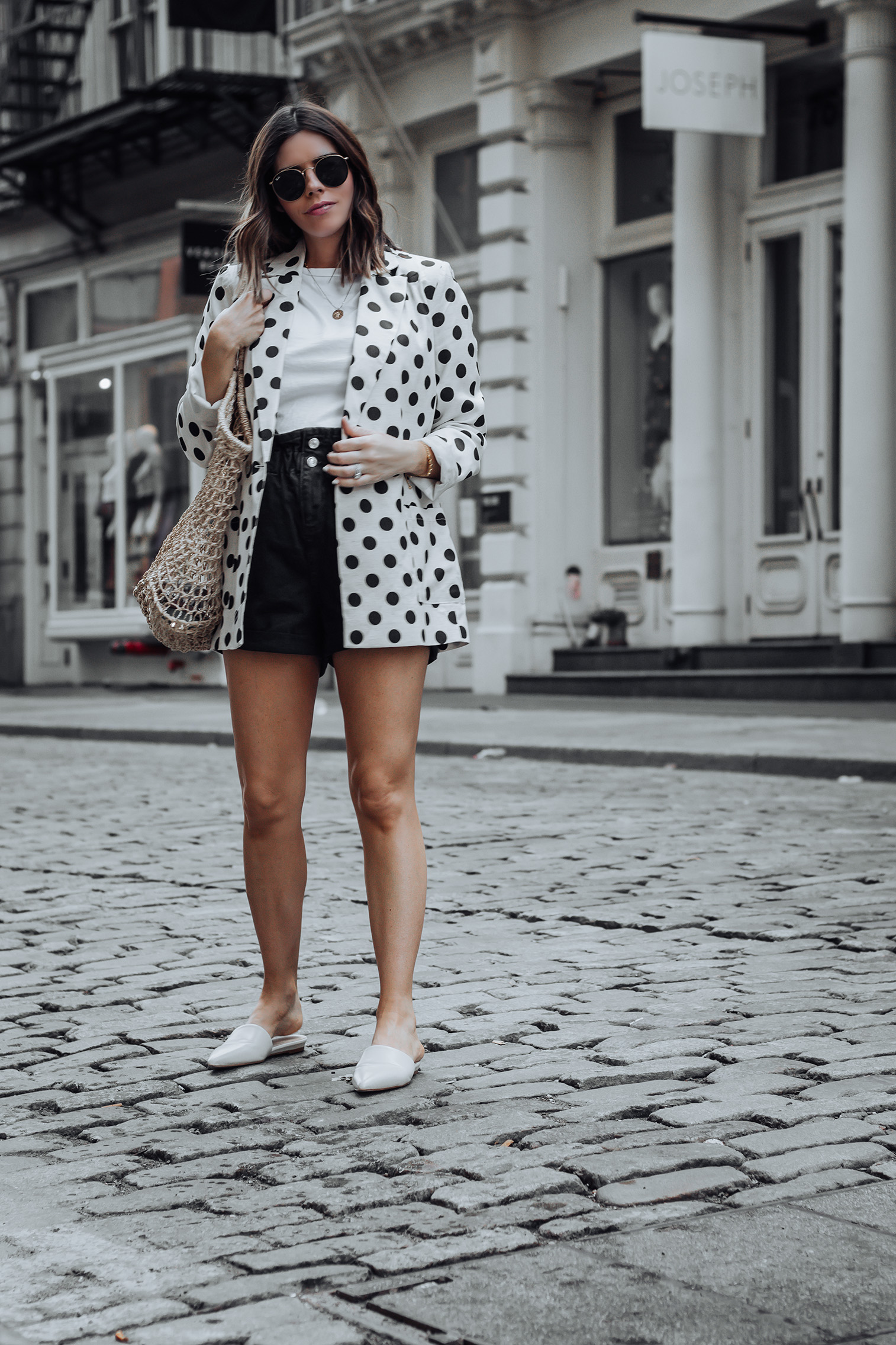 Linen spotted blazer | Click to shop the look: Black Paper Bag Shorts (similar)| Linen Spotted Jacket | Straw Tote bag (similar) | #liketkit #blazer #streetstyle #ootd #strawbag #topshop #casualfashion #nycblogger