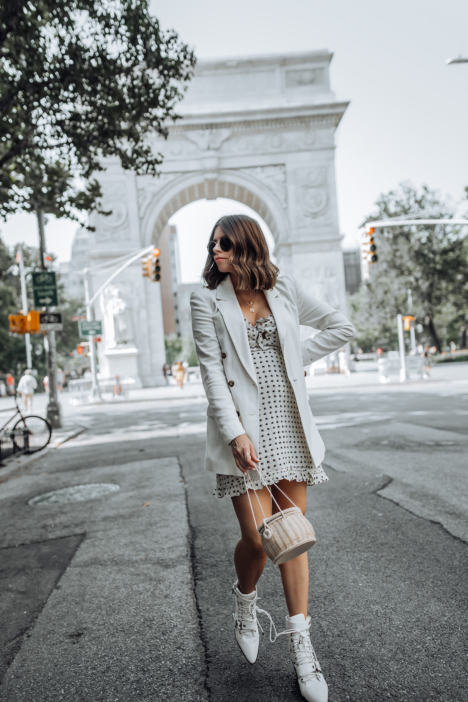 For Love & Lemons Sweetheart Mini Dress | Linen Blazer | ZARA Handbag | Leather Booties #liketkit #blazeroutfits #zara #streetstyle