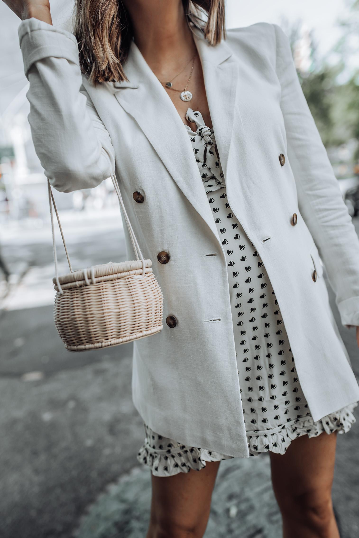 For Love & Lemons Sweetheart Mini Dress | Linen Blazer | ZARA Handbag | Leather Booties #liketkit #blazeroutfits #zara #streetstyle