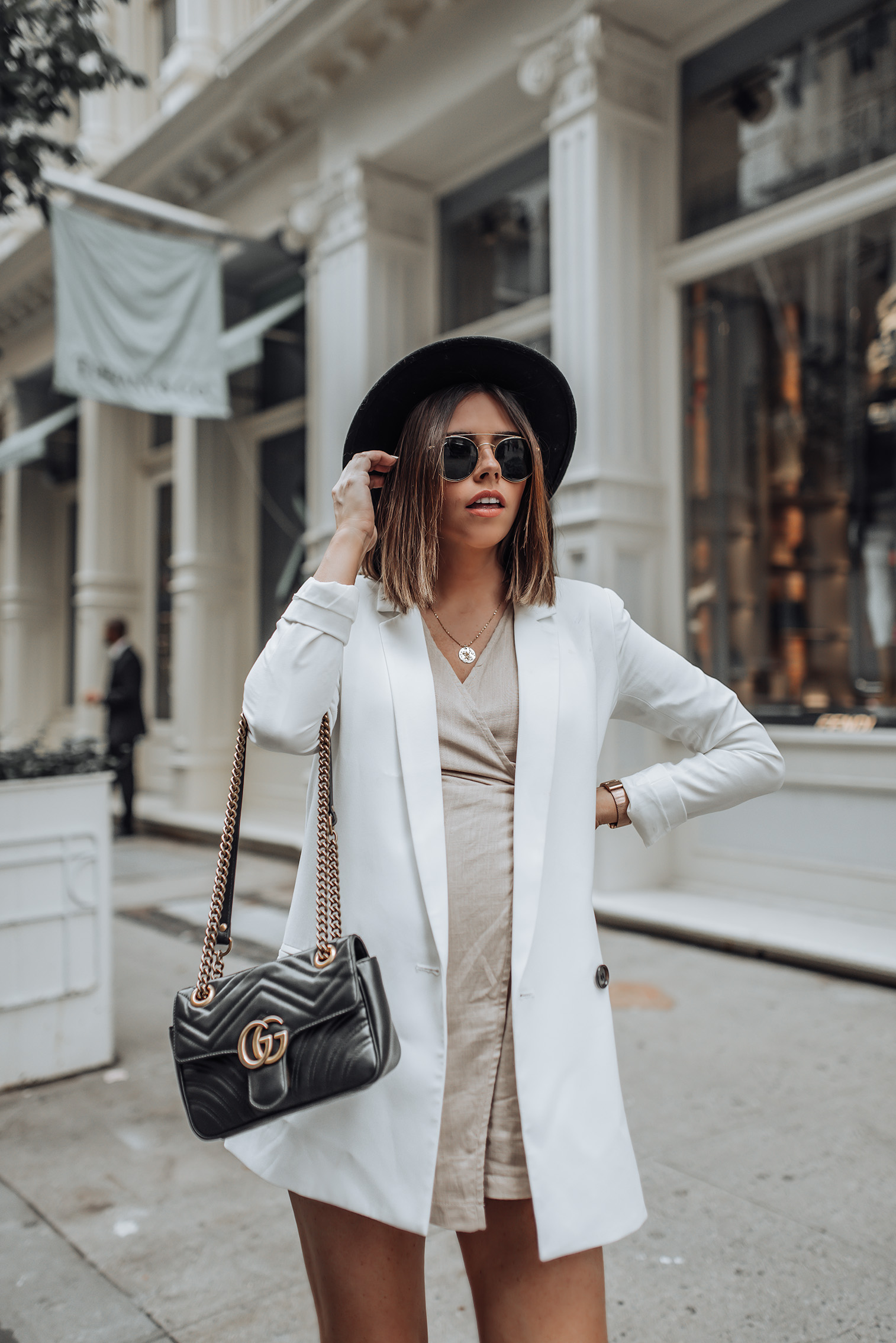 The perfect blazer | Brixton Hat | White Blazer | Tan Playsuit | Gucci Marmont Bag | Golden Goose Sneakers #ootd #streetstyle #gucci marmont