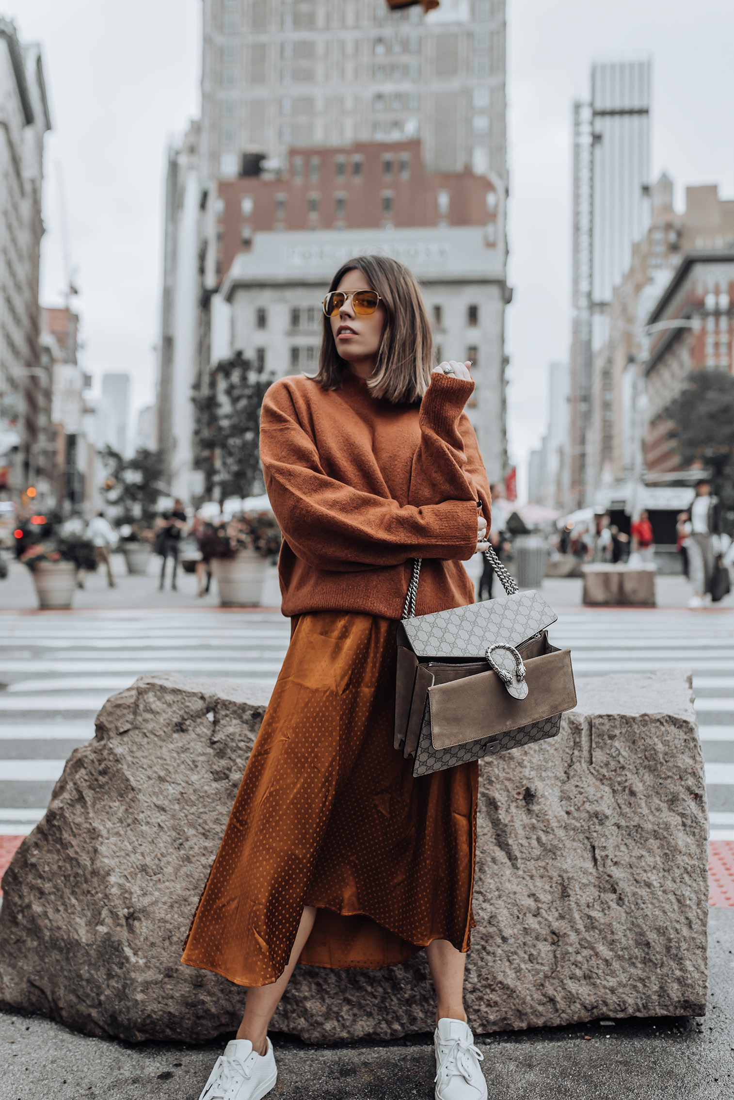 Fall tones | Midi Dress | Mock Neck Sweater | Gucci Bag | Glasses #streetstyle #ootd #liketkit #gucci