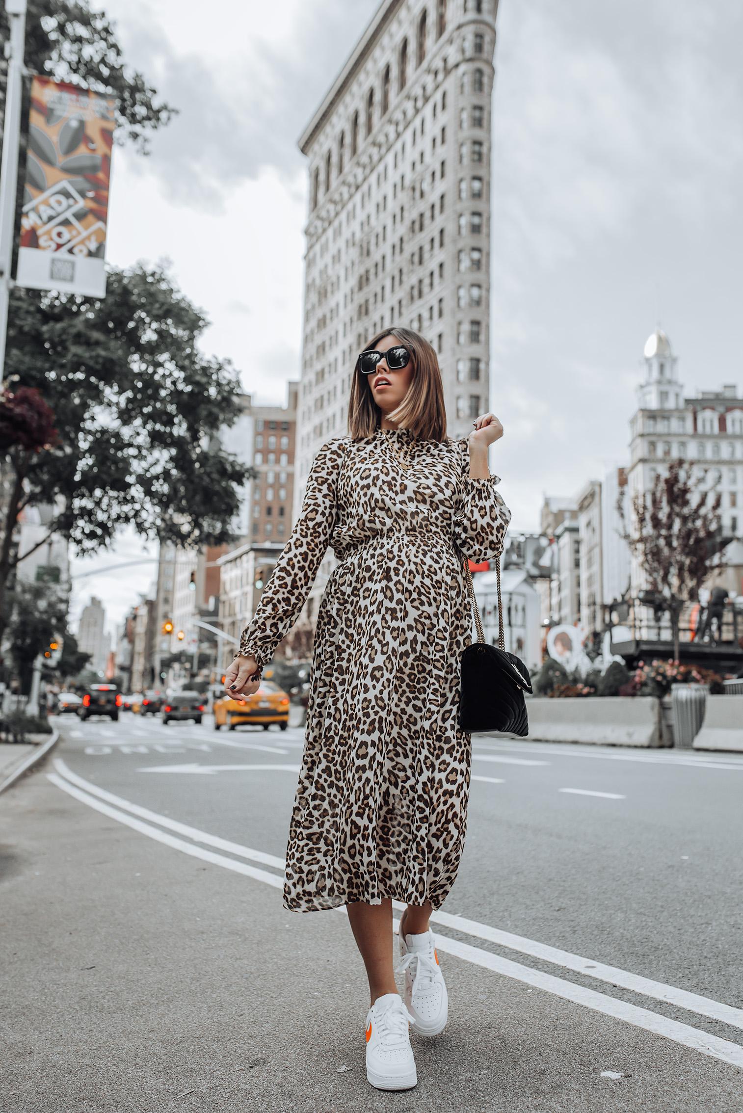 Leo print dress | #leopard #liketkit #nikeoutfits #celine sunglasses #nikeairforce #streetstyle | Leo Print Dress | Nike Air Force | YSL Bag