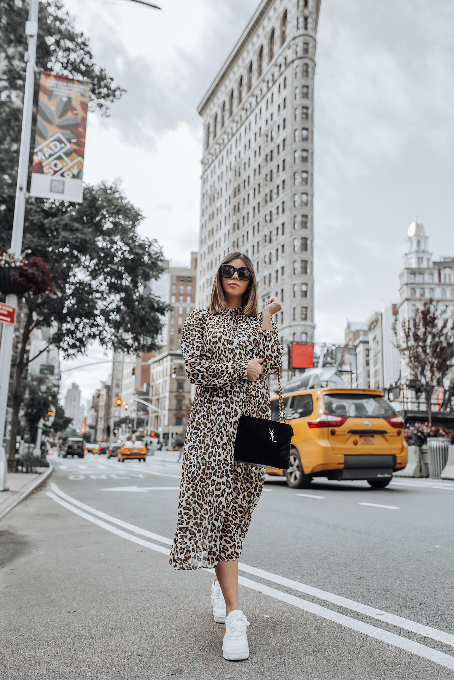 Leo print dress | #leopard #liketkit #nikeoutfits #celine sunglasses #nikeairforce #streetstyle | Leo Print Dress | Nike Air Force | YSL Bag