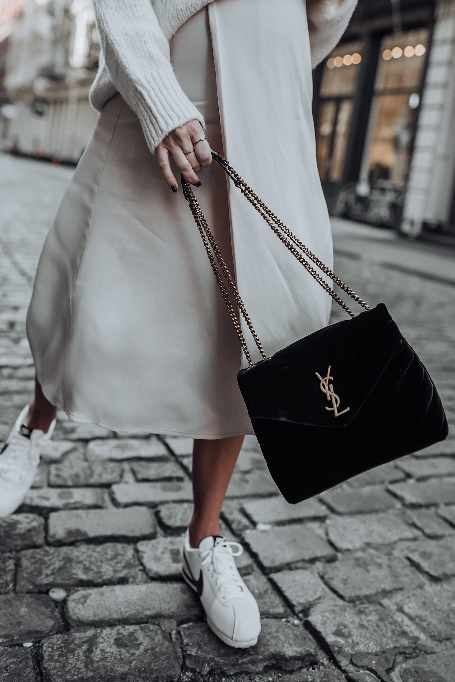 Neutrals |Skirt (Similar) | Sweater (from Mango but sold out, similar here and here) | Nike Cortez | YSL Bag #liketkit #nikecortez # yslbag #streetstyle