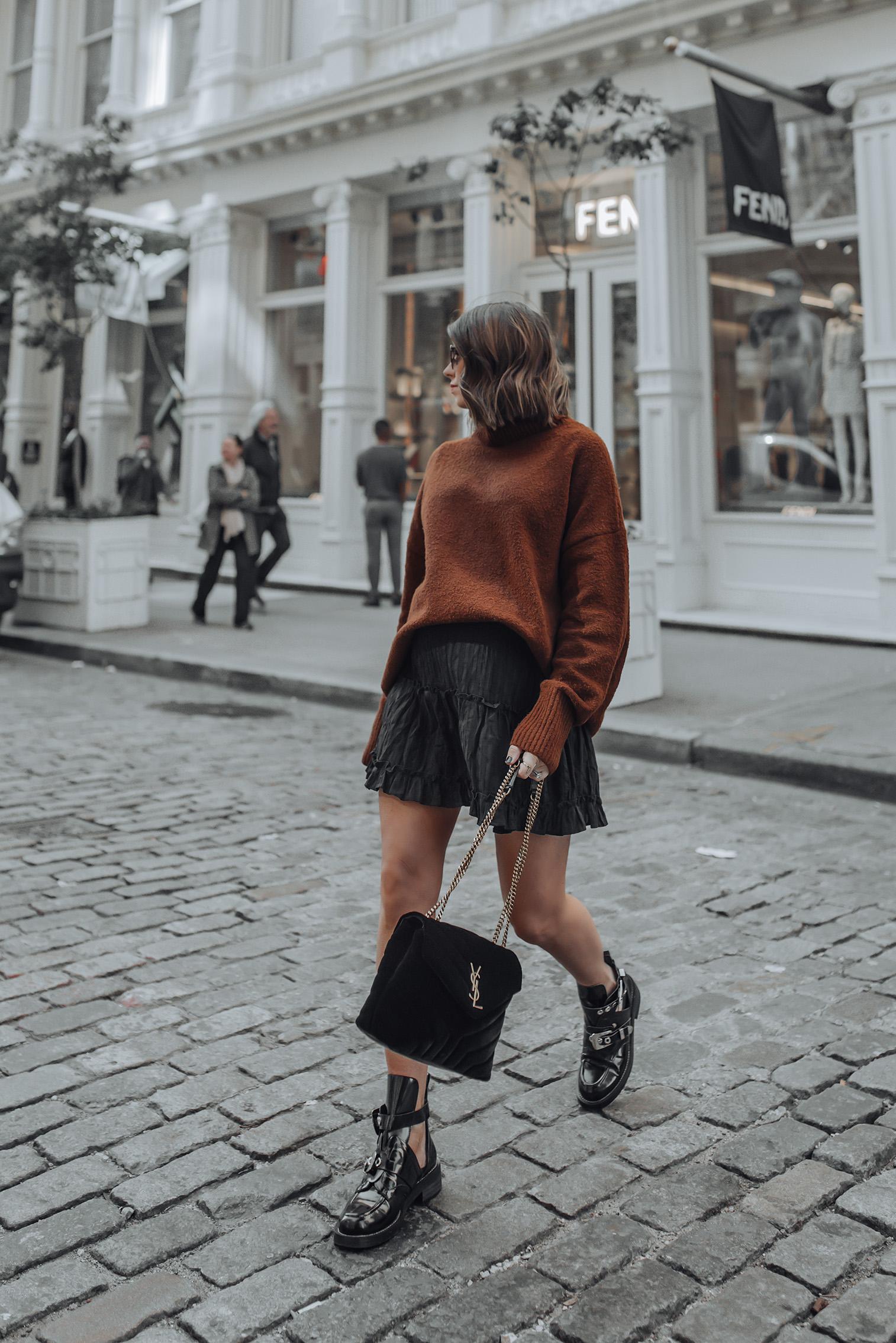 Oversized Sweater   Black Mini Skirt   YSL LouLou in Velvet   #streetstyle #ysl #nycblog #sohonyc #liketkit