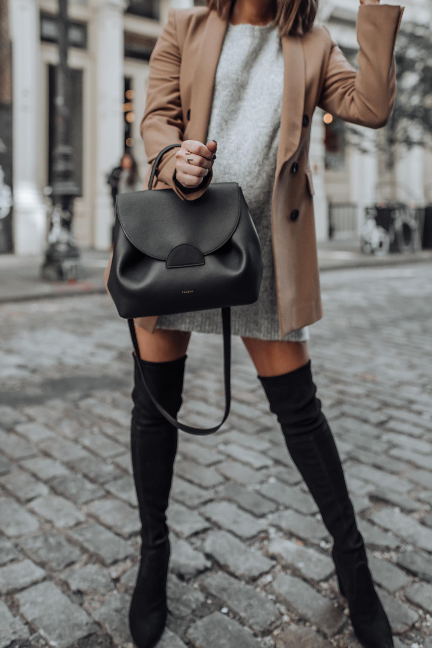Grey and camel |Grey Sweater | Stuart Weitzman Funland (similar) | Zara Blazer (similar) | Bag C/O Polene Paris #streetstyle #nycblog #sohonyc #travel