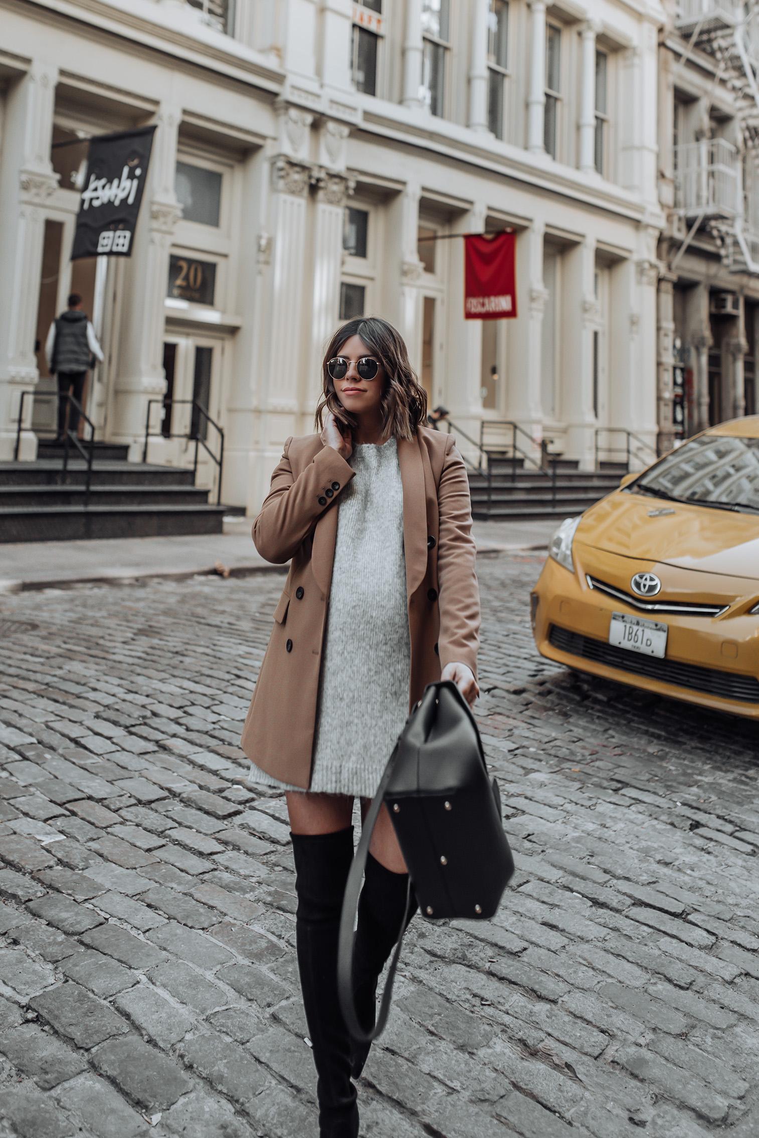 Grey and camel  Grey Sweater   Stuart Weitzman Funland (similar)   Zara Blazer (similar)   Bag C/O Polene Paris #streetstyle #nycblog #sohonyc #travel