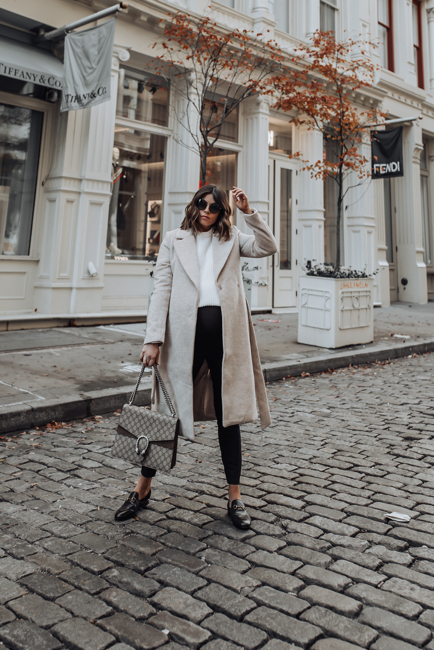 Neutral Tones |H&M Coat,Identical option here | Sweater | Gucci Bag | Gucci Princetown Shoes #gucci #liketkit #hm