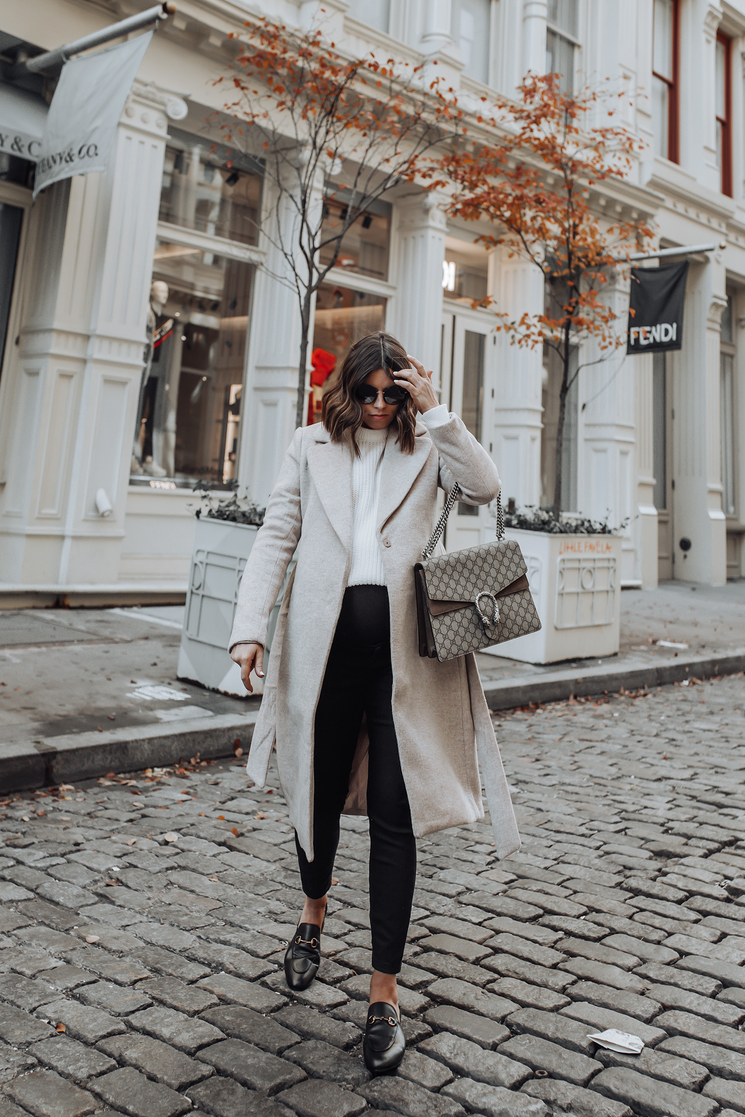 Neutral Tones |H&M Coat, Identical option here | Sweater | Gucci Bag | Gucci Princetown Shoes #gucci #liketkit #hm