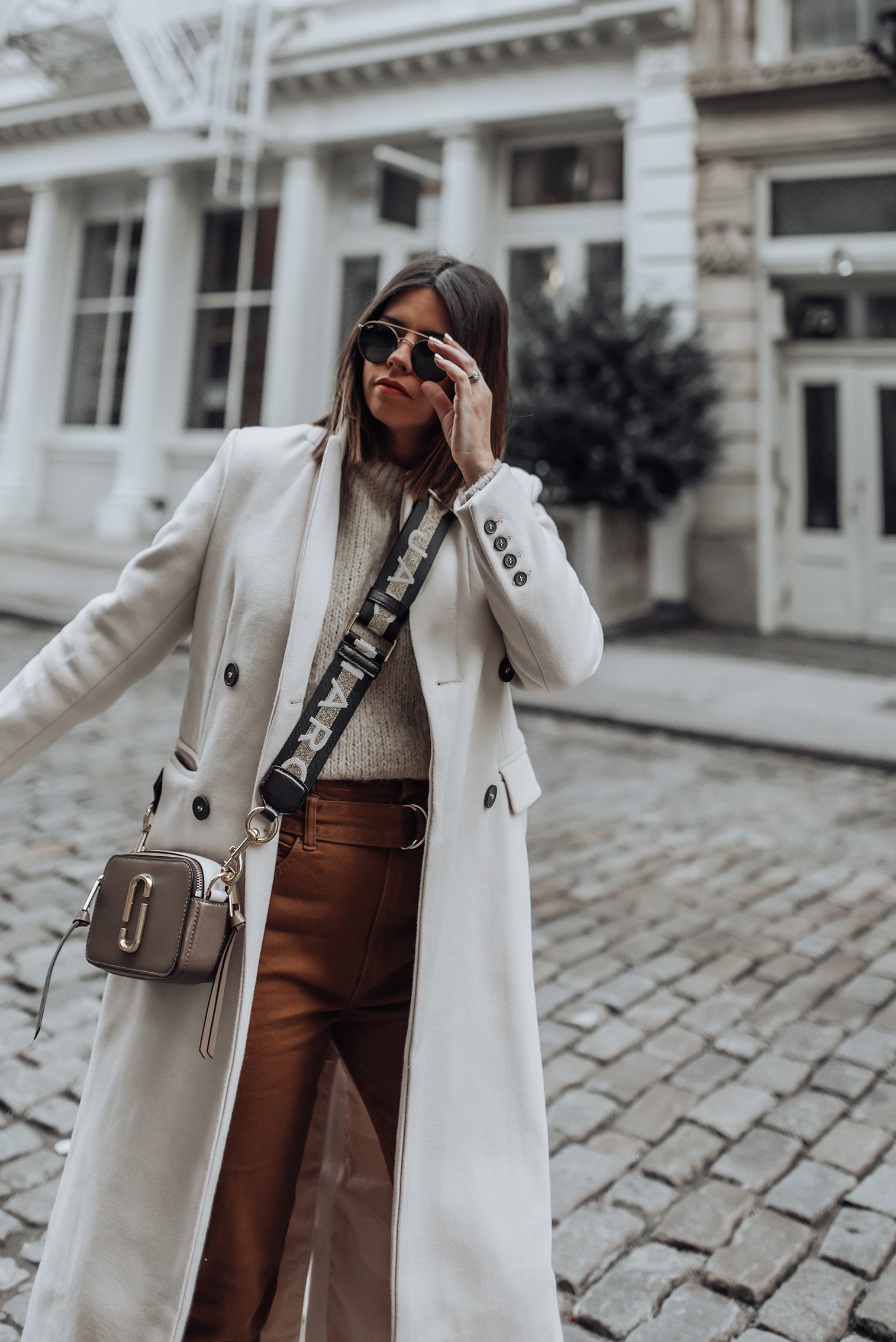 Pants (Berska, similar here and also love this pair) | Marc Jacobs Snapshot Camera Bag | Wool Coat (similar here) | Sweater | #streetstyle #marcjacobs #ootd