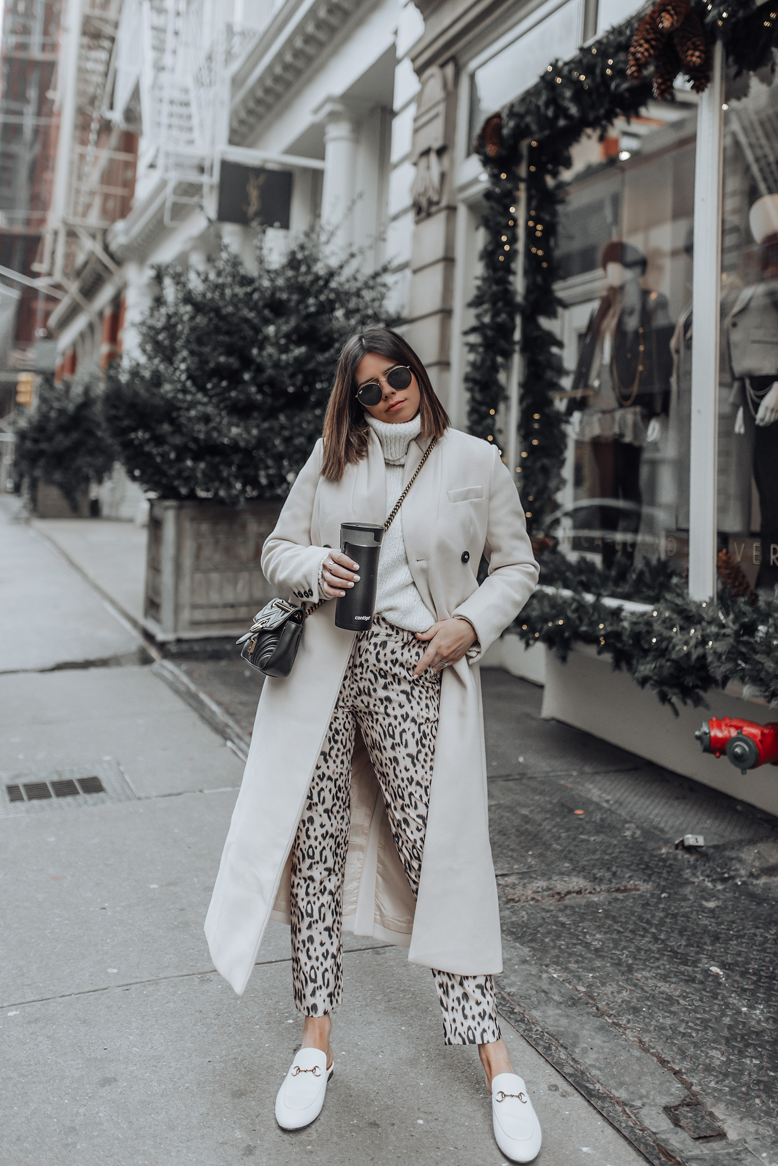 Cozy in leopard |Similar Leopard Pants | Sweater (Mango, similar here) | Ring by & Other Stories | Gucci Princetown | Gucci Bag #ootd #liketkit #style