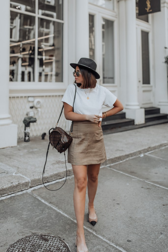 Skirt (Verge Girl) Similar here | T-shirt via Pretty Little Thing (Similar here) |Backpack | Hat | Shoes  Happy Memorial Day! I know some really big sales are happening today so I won't take up too much of your time! In today's news, it seems the weather is finally shaping up in NY, so my mini skirts are finally out! I was beginning to think my summer wardrobe would never get to be on display! Haha!