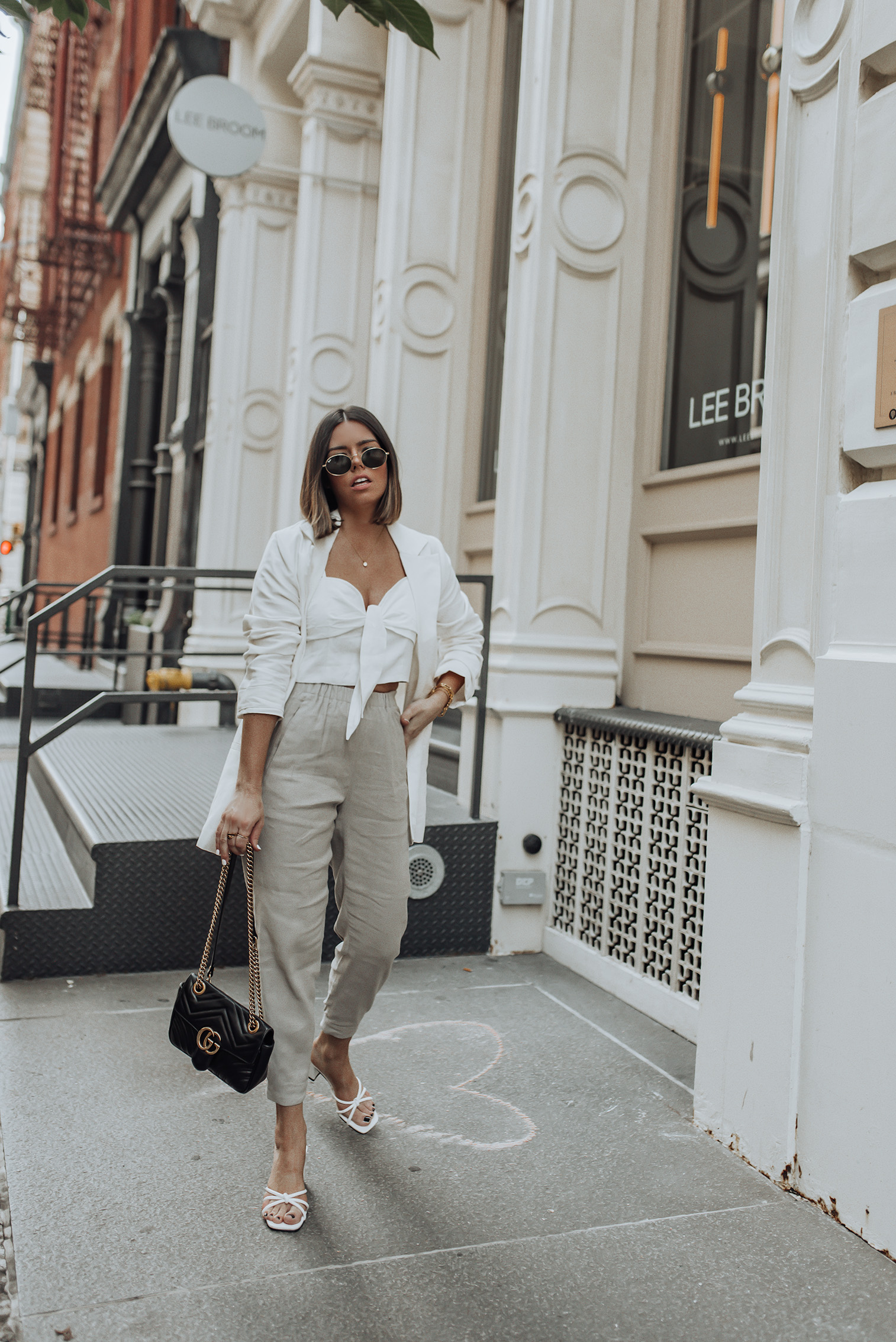 Linen top (Similar) | Linen pant (Aritzia) | Heels (Verge Girl) | Gucci Bag | Linen Blazer  Wearing head to toe linen! Well maybe not to my toes but you get the effect I was going for here. Hehe! It's been super hot in NYC and the only way I've been fashionably surviving the heat is by wearing super light weight clothing. Not to mention the humidity has been through the roof. #streetstyle #ootd #rewardstyle #linenpant #aritzia
