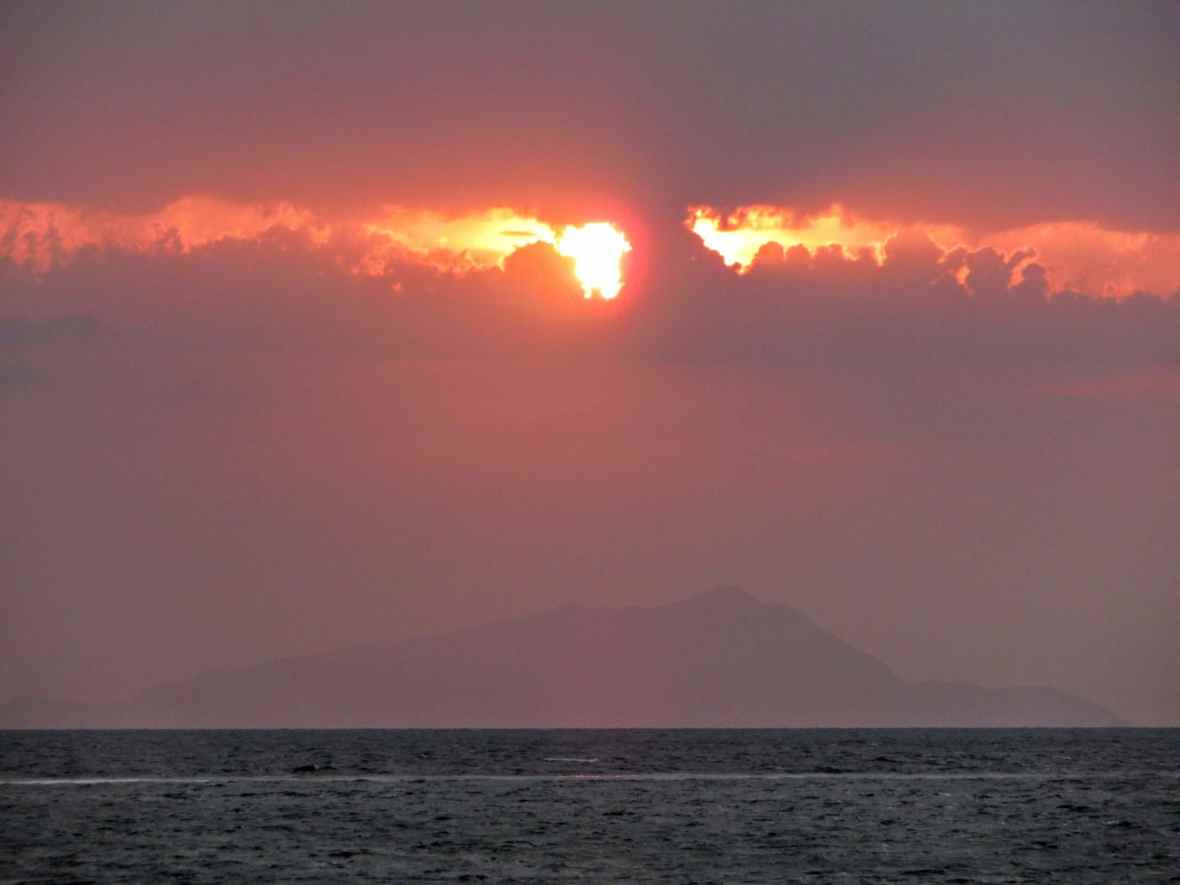 dark sunset on Capri Island, view from Castellammare di Stabia