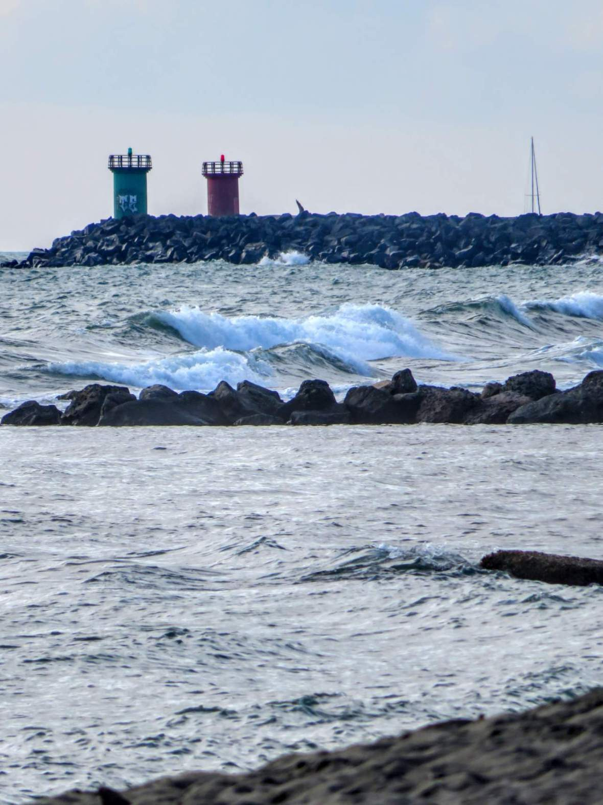 rough sea at the port of Ostia