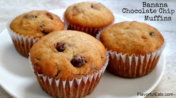 Banana Chocolate Chip Muffins - Flavorful Eats