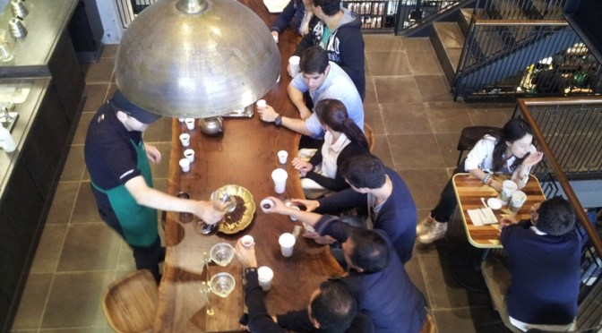 Coffee cupping at Starbucks