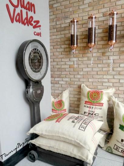 Coffee scales at Juan Valdez Bogota