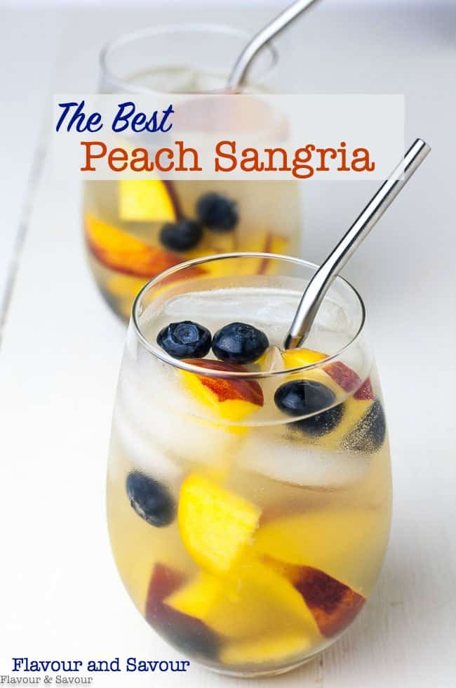 The easiest (and the best) Peach Sangria recipe ever! Fresh peaches gently flavour Prosecco or your favourite sparkling wine. Not too sweet! Just right. Dice fresh peaches, soak in Triple Sec and lemon juice, top with ice and Prosecco and serve.