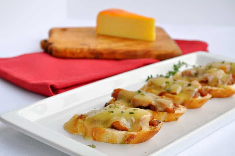 Caramelized Onion, Apple and Cheese Crostini.Not your everyday Grilled Cheese! An easy make-ahead appetizer. www.flavourandsavour.com