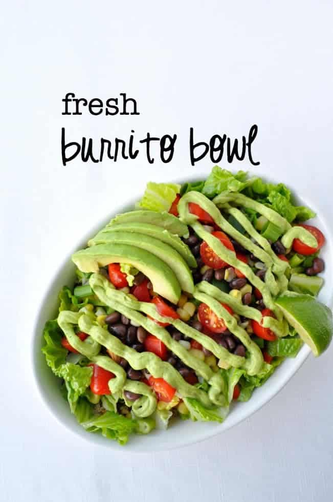 Fresh Burrito Bowl. All the flavours of the Southwest! Quinoa, black beans and fresh crispy vegetables, drizzled in avocado cream. We like this for an easy weeknight meal. Leftovers for lunch are even better!|www.flavourandsavour.com