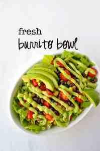 Fresh Burrito Bowl garnished with avocado cream