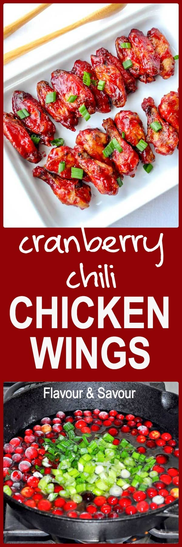 Cranberry Glazed Chili Chicken Wings. Sweet with a bit of a kick! Only 3 ingredients. Perfect for holiday parties.