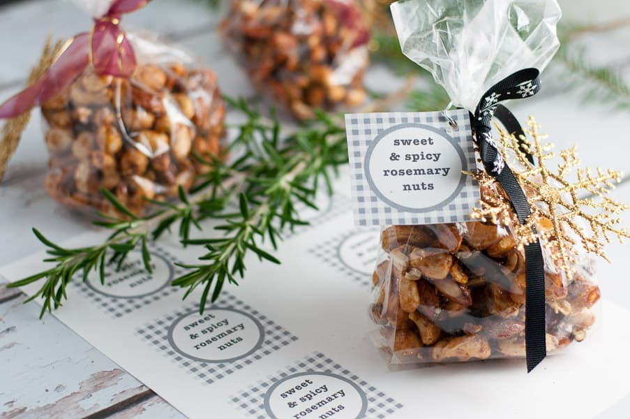 Sweet and Spicy Rosemary Nuts. A quick and easy party snack. Makes a great holiday gift too. Free printable gift tags included.
