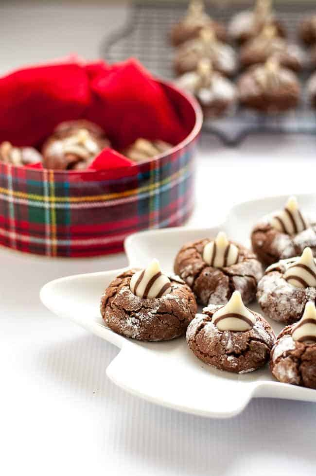 These Zebra cookies are a rich chocolate cookie with a Hershey's Hug pressed in the middle. Always