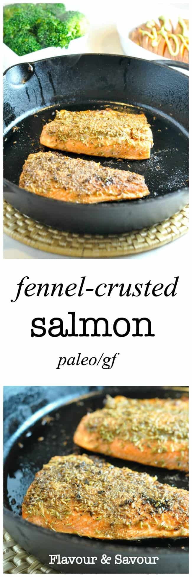 Paleo Fennel-Crusted Salmon. A fast but fancy meal, ready in less than 30 minutes. |www.flavourandsavour.com