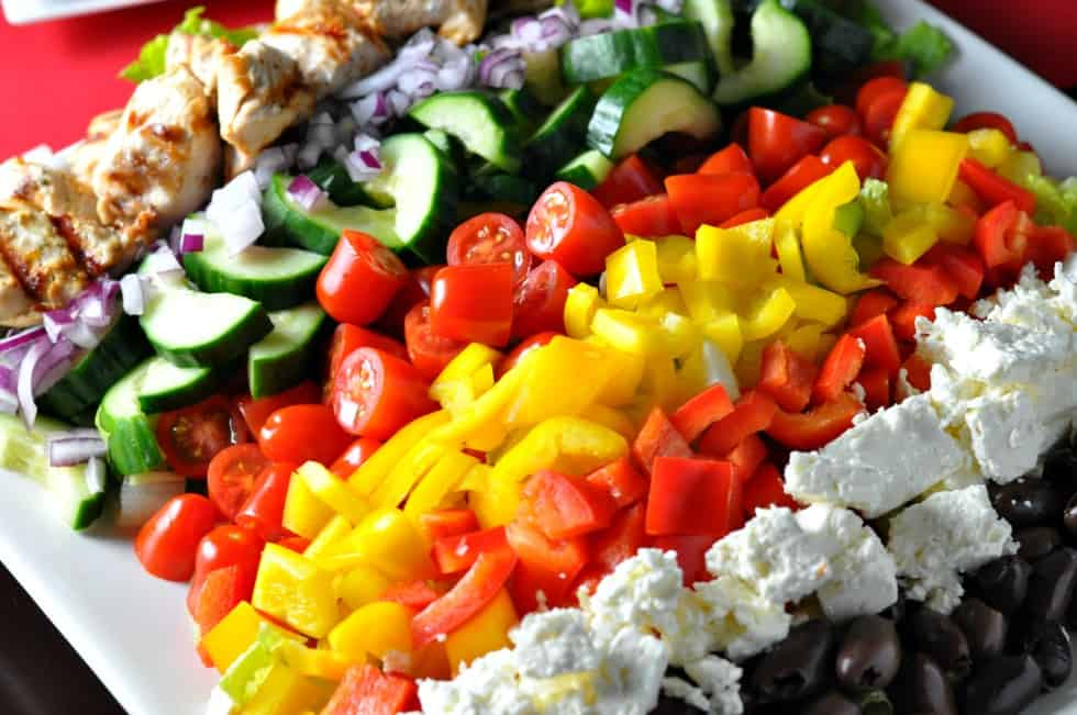 Greek Cobb Salad--Family Style. Perfect for picky eaters! Choose what you like, leave what you don't.