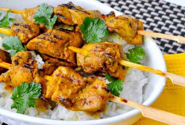 Grilled Turmeric Chicken Kabobs. All the benefits of turmeric in these succulent skewers of grilled chicken.