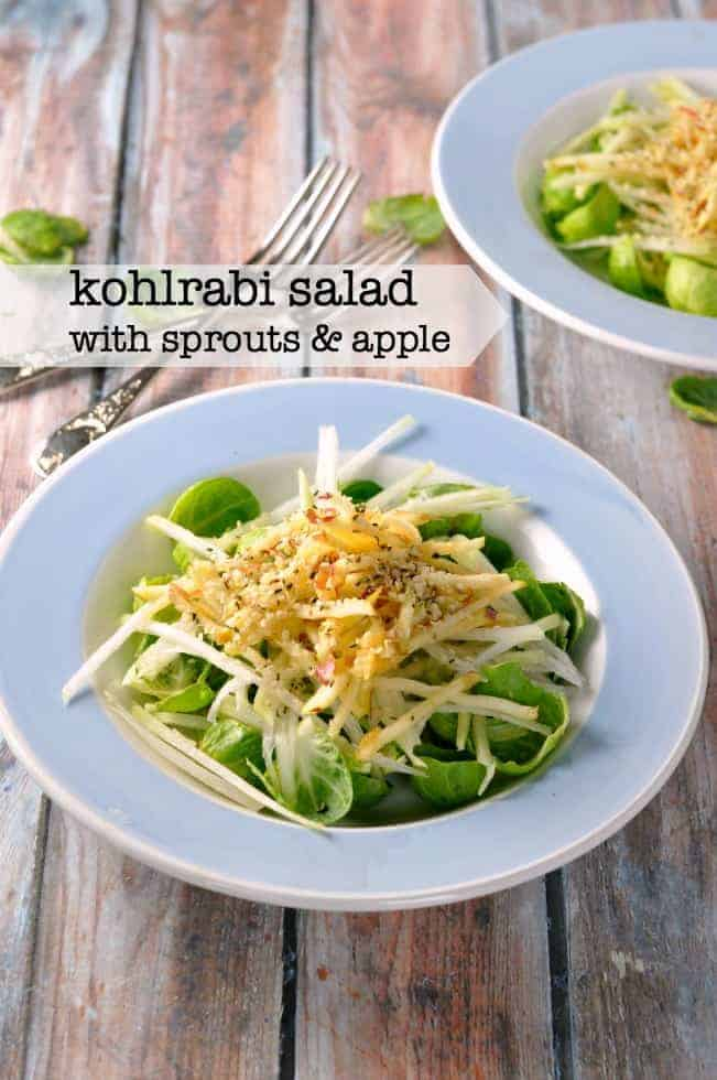 Crisp Brussels sprout leaves, crunchy kohlrabi and sweet juicy apple give all the freshness of a summertime salad on a winter day in this fresh and crisp Kohlrabi Winter Salad. #kohlrabi #winter_salad #apple #hemp_hearts