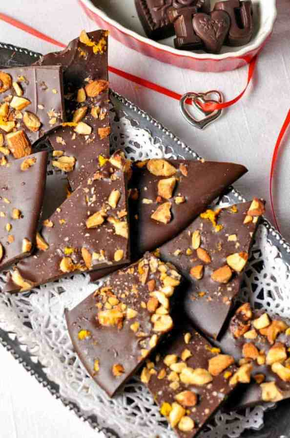 Salted Dark Chocolate Bark. Perfect for Valentine's Day. Just a hint of orange.