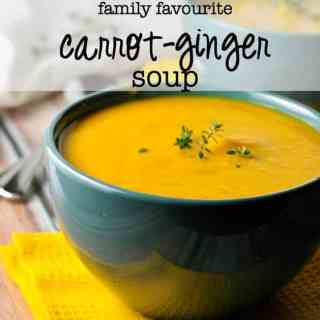 "Our Family's Favourite carrot-ginger soup. First spoonful is always followed by ""Mmmmm."" 